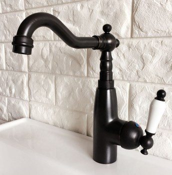 Kitchen Wet Bar Bathroom Vessel Sink Faucet Black Oil Rubbed Bronze One Handle Swivel Spout Mixer Tap Single Hole mnf373 oil rubbed bronze kitchen faucet vessel sink mixer tap swivel spouts single handle hole vessel sink mixer tap faucets