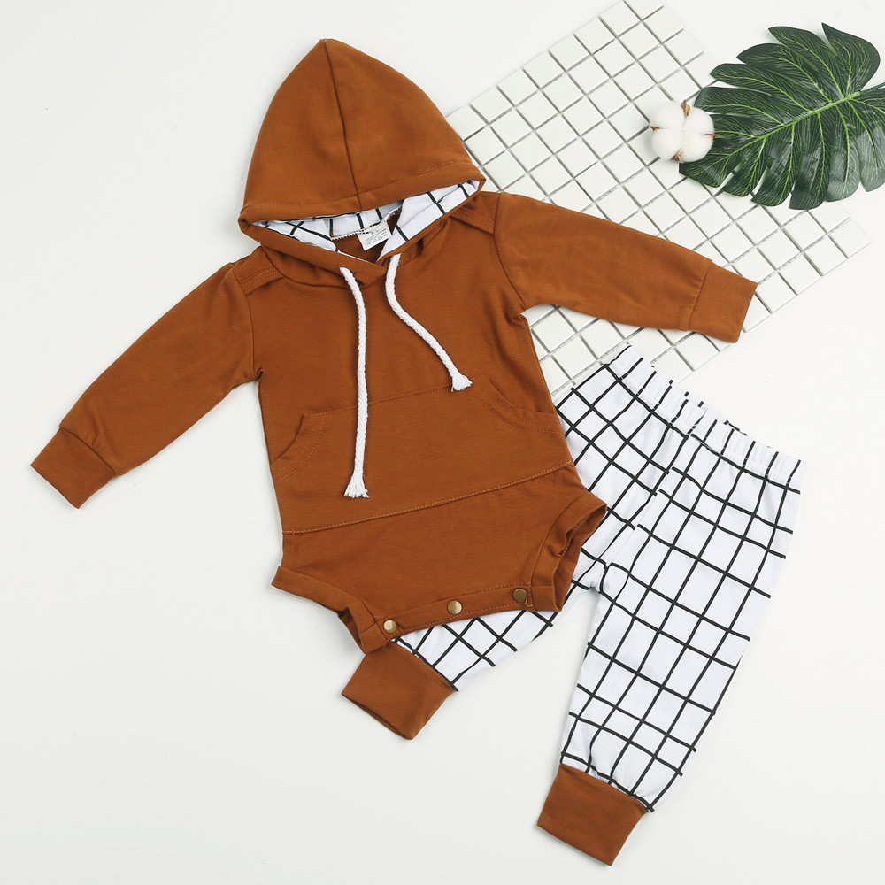 Fashion Autumn winter Newborn Baby Girls Boys Outfits Clothes Hooded Romper Jumpsuit+Plaid Pants Set warm newborn suits home set