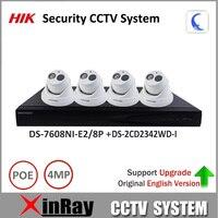 Original Hikvision P2P Security Camera Kit 8POE NVR DS 7608NI E2 8P 4MP IP Camera DS
