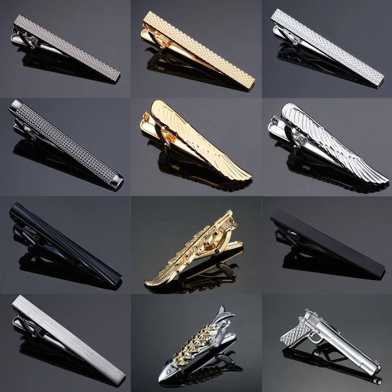 New Stylish Men Plating Metal Necktie Tie Bar Clasp Clip Cufflinks Set Gold Gift Stainless Steel Plain Skinny Tie Clip Pins Bars