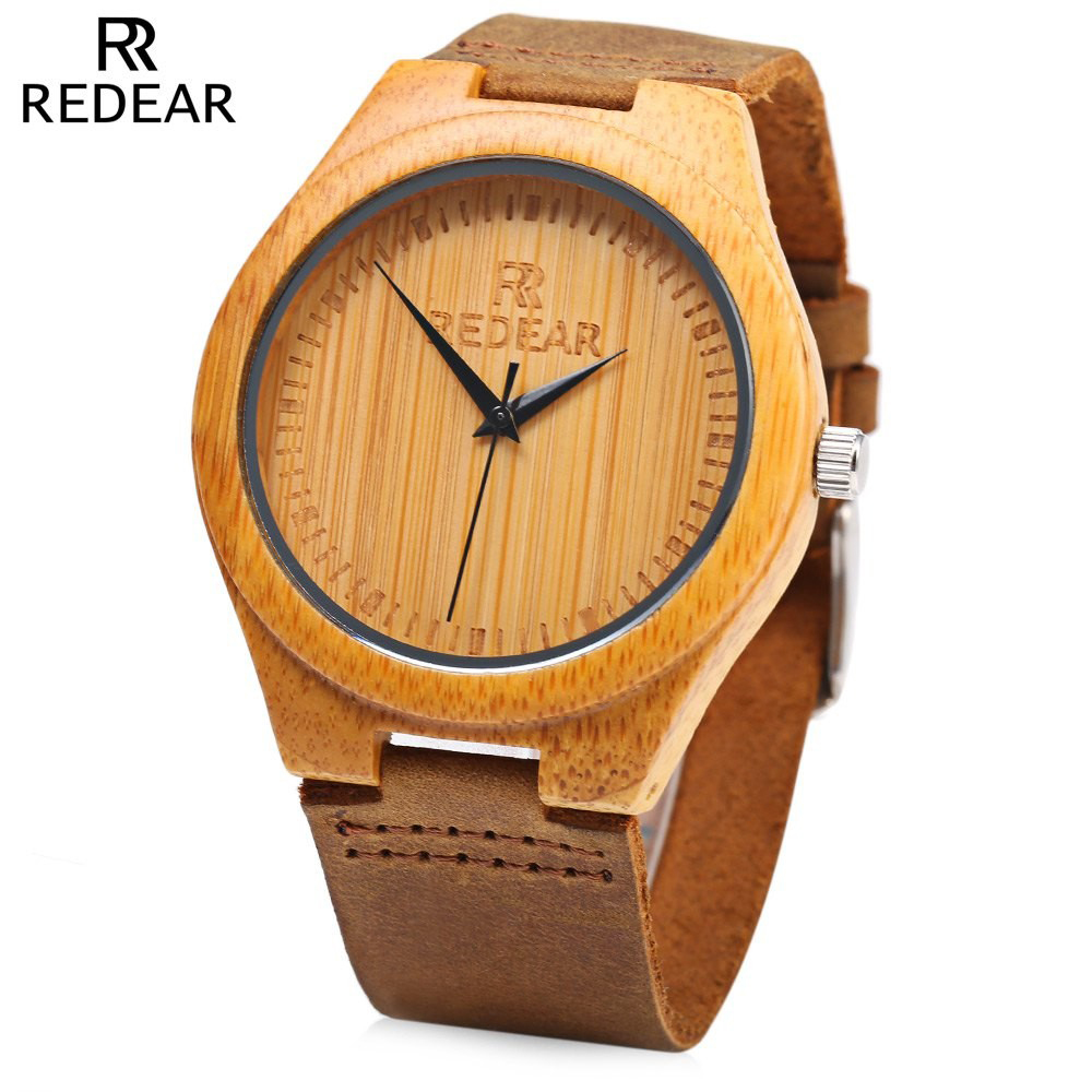 Подробнее о REDEAR Brand Simple Dial Unique Luxury Wood Watch Men Natural Bamboo Wooden Wristwatch Waterproof Clock Man Quartz Watch for Men japan style men s watch natural wooden wristwatch wood quartz watch box nice gifts for men relogio masculino 2016 luxury brand