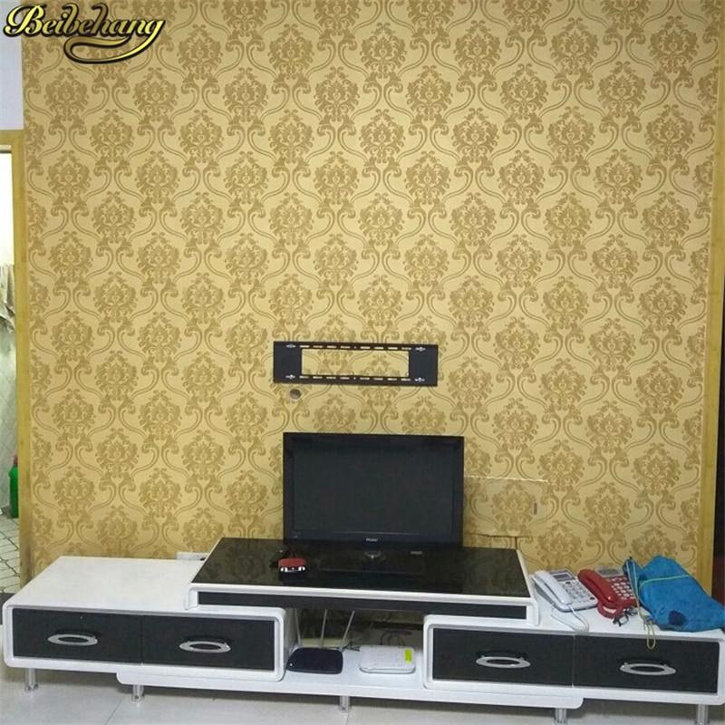 Купить с кэшбэком beibehang Damask papel de parede 3D wallpaper For Walls vinyl PVC glitter wall paper for Living Room wall-paper papel wall