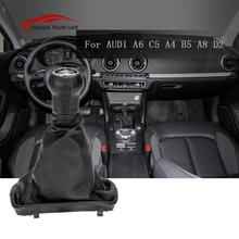 car-styling 5 Speed Gear Shift Knob Stick Gaiter Boot Kit for AUDI A6 C5 1997-2001 A4 B5 1998-2000 A8 D2 5 GEARBOX 1996-2003