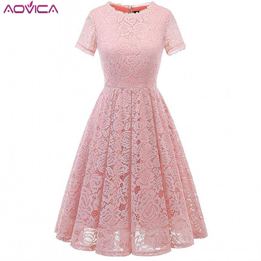Aovica Women Short Sleeve Party Office Lace Dresses Ladies Sexy Knee-Length A-Line Dress Female 2019 Summer Dress Midi Vestidos