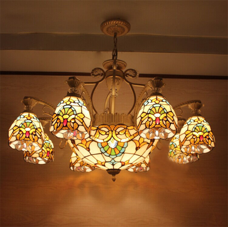 European Vintage Glass Pendant Light Artistic Pastoral Tiffany Bar Cafe Lamp Dining Room Pendant Light  11 Lights loft vintage edison glass light ceiling lamp cafe dining bar club aisle t300