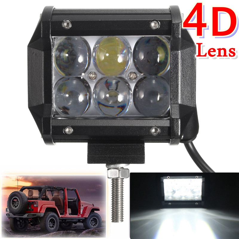 4inch 18W LED Work Light Spot/Flood Beam Offroad Auto Lamp For Je ep ATV Truck Tractor SUV Moto rcycle Driving Fog Lights 1pc 4d led light bar car styling 27w offroad spot flood combo beam 24v driving work lamp for truck suv atv 4x4 4wd round square
