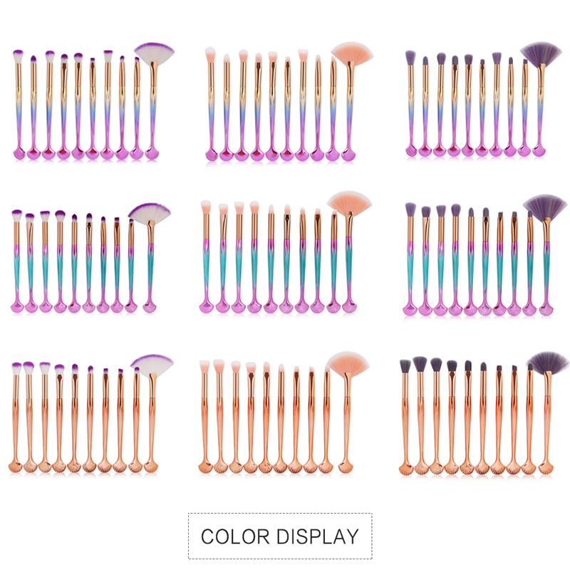 10Pcs Makeup Brushes Set Power Eye Shadow Brow Lip Concealer Fan Beauty Cosmetic Eyes Face Shell Make Up Brush Tool Kit 11.11 19