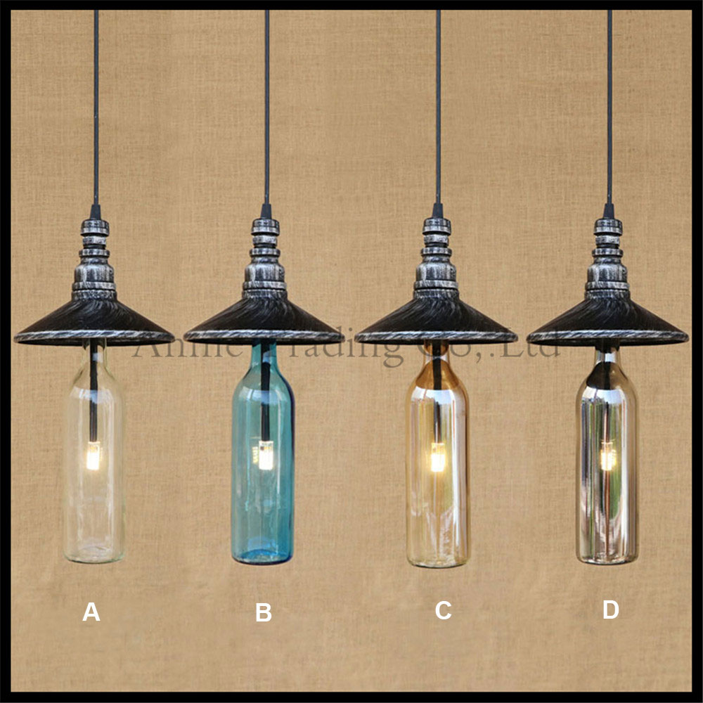ФОТО Industrial Vintage G4 bulb included Water bottle pipe Pendant lights American Bar Cafe Restaurant loft glass suspention lamp