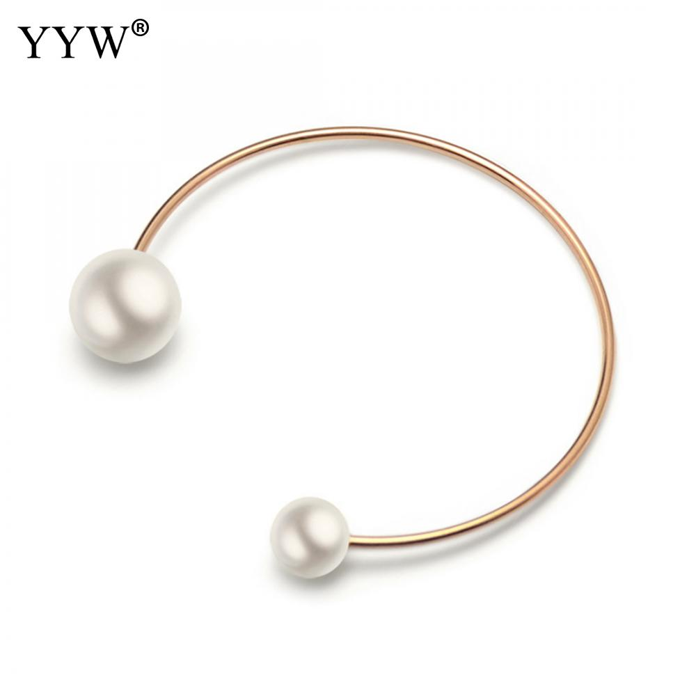 Jewelry Opeaning Pearl Cuff Bangle Bracelet Girl Women Stainless Steel Charm Bangles Gift 3 Kinds Color for choose
