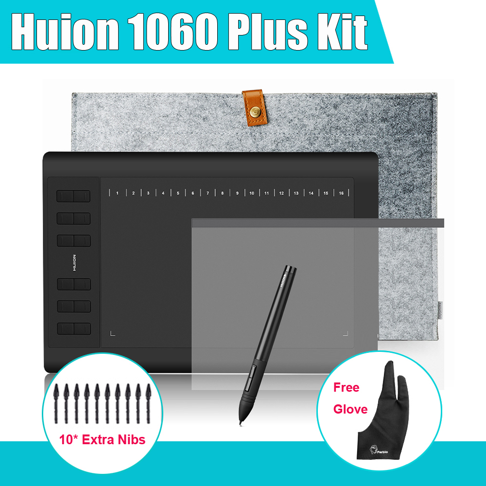 Huion 1060 Plus Graphic Drawing Digital Tablet w/ Card Reader 8G SD Card 12 Express Key +Protective Film +15″ Glove+Parblo Glove