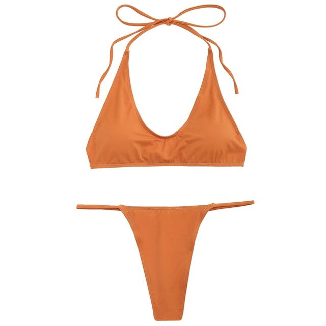 Halter Bikinis 2018 Push Up Padded Woman Swimwear Solid Color Beachwear  Brazilian G-string Bikini