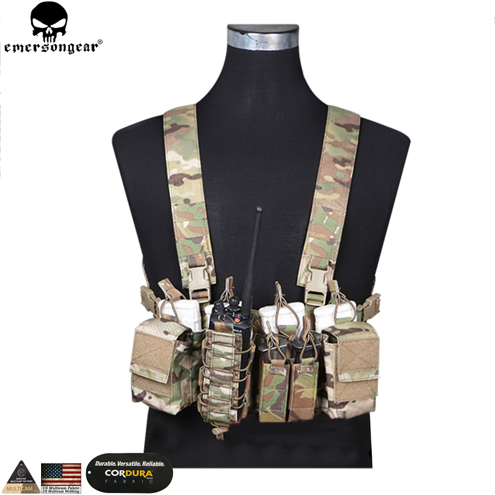 EMERSONGEAR D3CR Tactical Chest Rig Airsoft Hunting Vest Molle Pouch Simple Tactical Vest Multicam Black WG