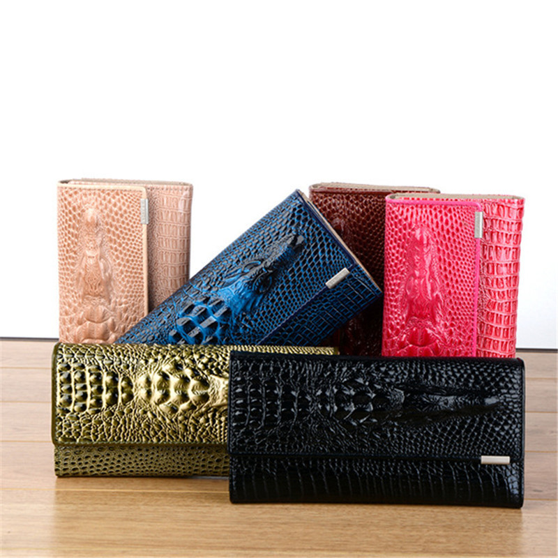 Women Wallet Female 2018 HOT Coin Purses Holders 3D Embossing Alligator Ladies Crocodile Long Clutch Wallets female clutch small coin purses hasp wallets hot card holders bags gift 1 pcs owl
