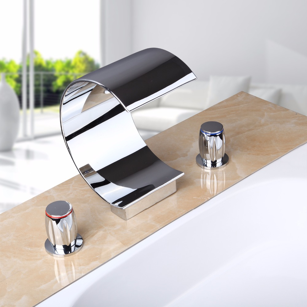 Hot/Cold Waterfall Spout Deck Mount Polish Chrome Brass Bathroom Sink Wash Basin Double Handle 60G Torneira Mixer Tap Faucet newly modern simple bathroom waterfall widespread basin sink faucet chrome polish single handle single hole mixer tap deck mount