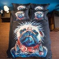 2018 3d Furry Arctic Doggies Husky Bedding Set black Kids Cartoon Bed Set King Size Duvet Cover Animal Dog Pug Print Bedclothes