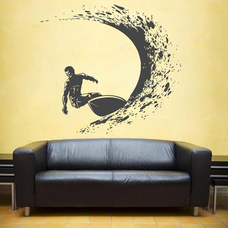 Surfing Wall Decals Surfer Wall Sticker Surfing Sports Decals Surfboard Wall Decals Waves Wall Decals For Boy's Beadroom YD25-in Wall Stickers from Home & Garden