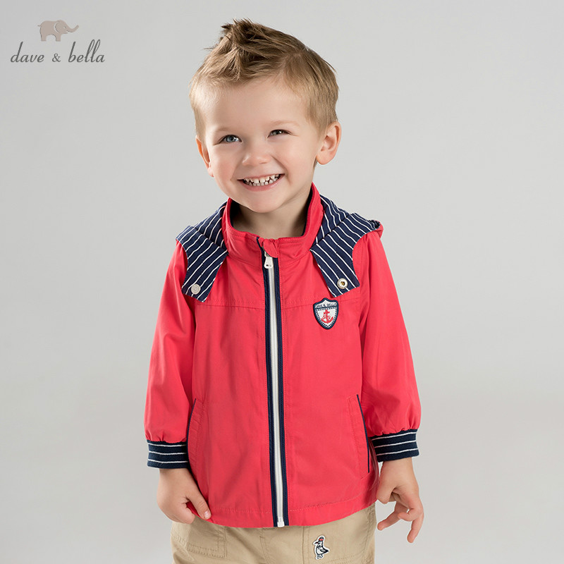 DB9927 dave bella spring baby boys fashion hooded coat children tops infant toddler coat