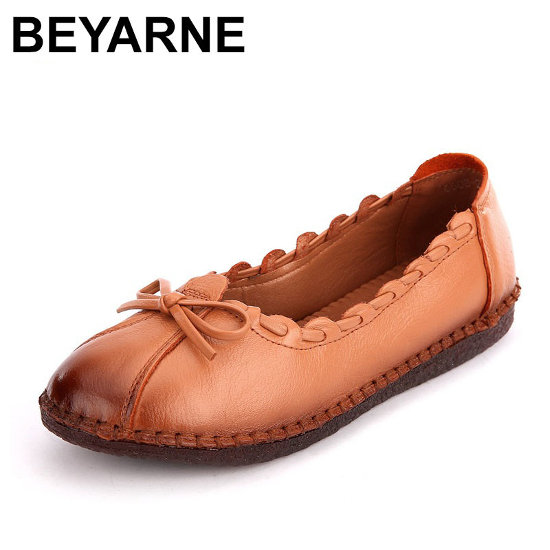 BEYARNE  New Product Women Flats Woman Genuine Leather Shoes Fashion Women's Handmade Shoes Soft Comfortable Casual Shoes 2017 new handmade women flats genuine leather oxfords shoes woman fashion ballets flats casual moccasins for women sapatos mujer