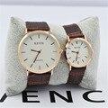 Hot sale 1pcs Mens Womens Quartz Wrist Watch Couple Lover PU Leather Band Free shipping