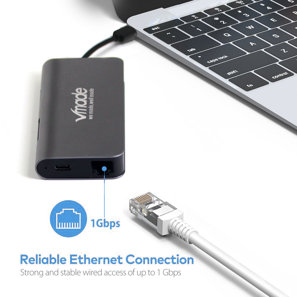 Image 5 - Vmade 8 in 1 Type C USB C to HDMI RJ45 Thunderbolt 3 Adapter for Samsung Galaxy S9 Huawei Mats P20 Type C USB 3.0 HUB Converter-in USB Hubs from Computer & Office