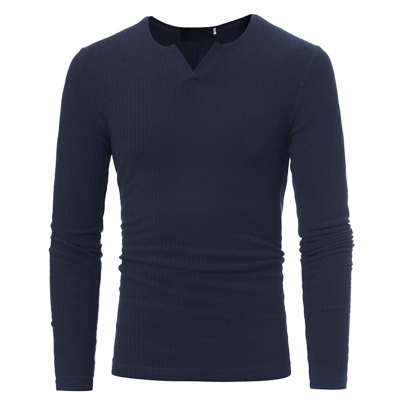 2018 New Fashion Brand Casual Sweater V-Neck Striped Solid Color Slim Fit Knitting Mens Sweaters And Pullovers Men Pullover Men