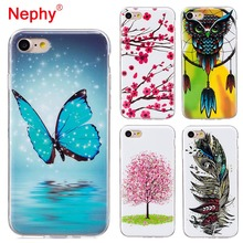 ФОТО nephy soft tpu case for iphone 7 8 6 6s plus x 12 patterns colorful ultra thin shockproof back cover high quality phone coque