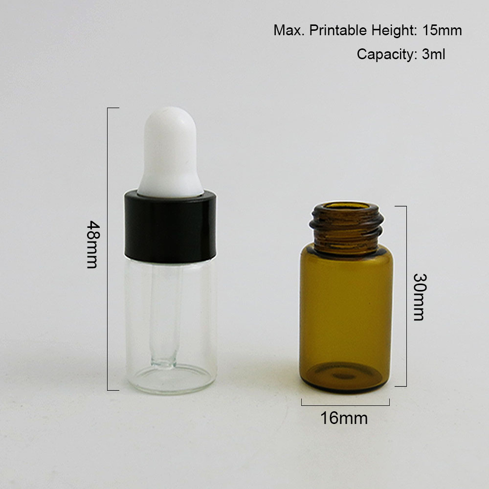 100 X Mini 3ML Travel Amber Clear Glass Dropper Bottles With Black Gold Aluminum Cap Essential Oil e liquid Sample Bottle in Refillable Bottles from Beauty Health