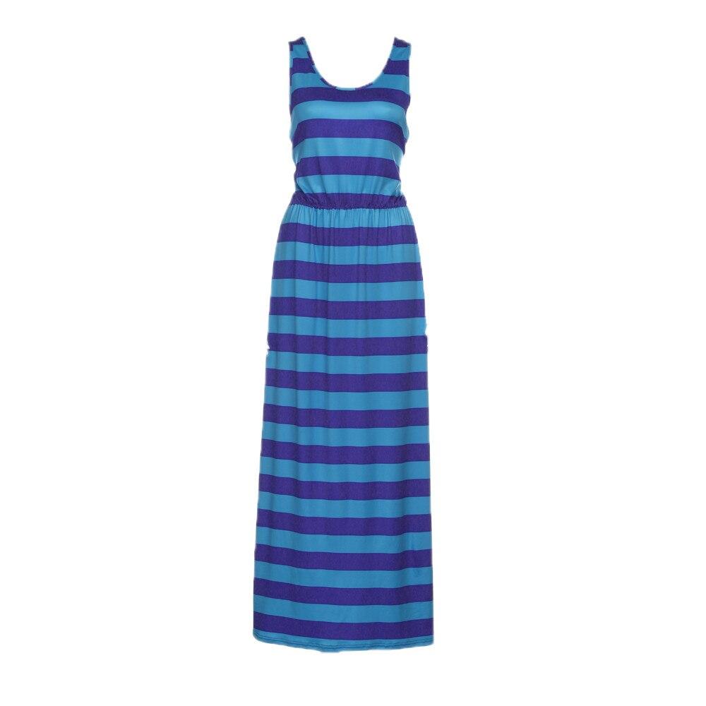Women Summer Sleeveless Ripple Long Dress Ladies Beach Party Dresses ...