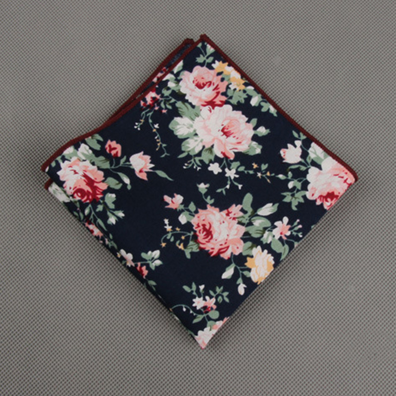 Mantieqingway Fashion Suits Flower Printing Pocket Square 23cm*23cm Men's Cotton Handkerchiefs Chest Towel Ladies Hanky Hankies