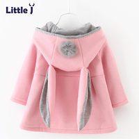Little J Cute Rabbit Ear Hooded Baby Girls Coat New Autumn Tops Kids Warm Jacket Outerwear