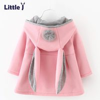 Little J Cute Rabbit Ear Hooded Baby Girls Coat New Autumn Tops Kids Warm Jacket Outerwear