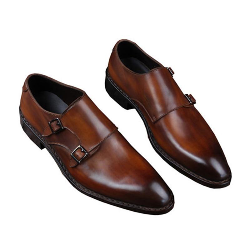 Goodyear Welted Klasik Kulit Asli Ganda Gesper Buatan Tangan pria - Sepatu Pria - Foto 2