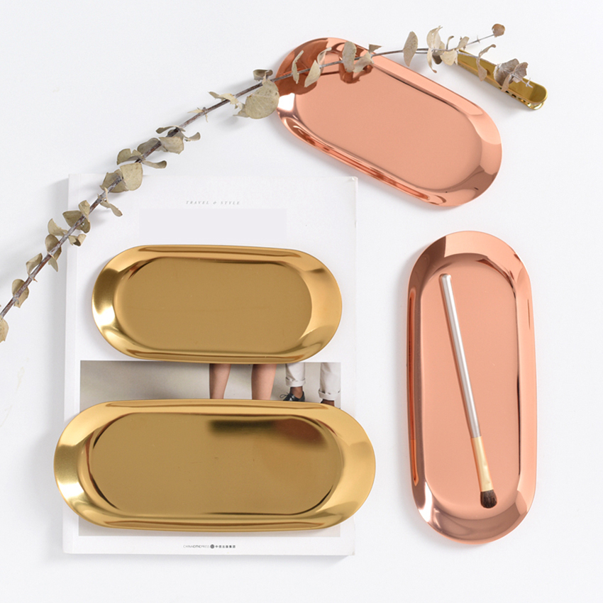 Droppshiping Gold Metal Kitchen Storage Tray Chic Brass Oval Plate Food Fruit Charge Plates Jewelry Display Tray Home Decor 1pc