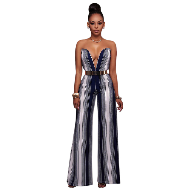 cdd81b06556 Women Deep V Striped Backless Strapless Boot Cut Fitness Wide Leg Sexy Jumpsuits  Hollow Out Overalls Rompers Clubwear Long Pants