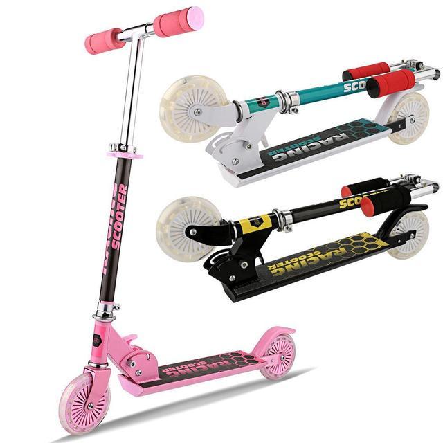 ANCHEER складной детей стопы скутеры алюминий сплав 2 мигает колеса, самокат регулируемая высота Best подарки для детей