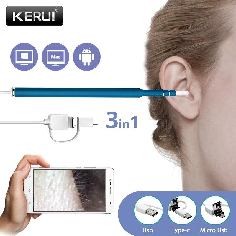 Kerui 3 en 1 USB OTG Visual oreja limpieza endoscopio cuchara herramienta de diagnóstico funcional oreja limpiador Android P 720 p Cámara oreja