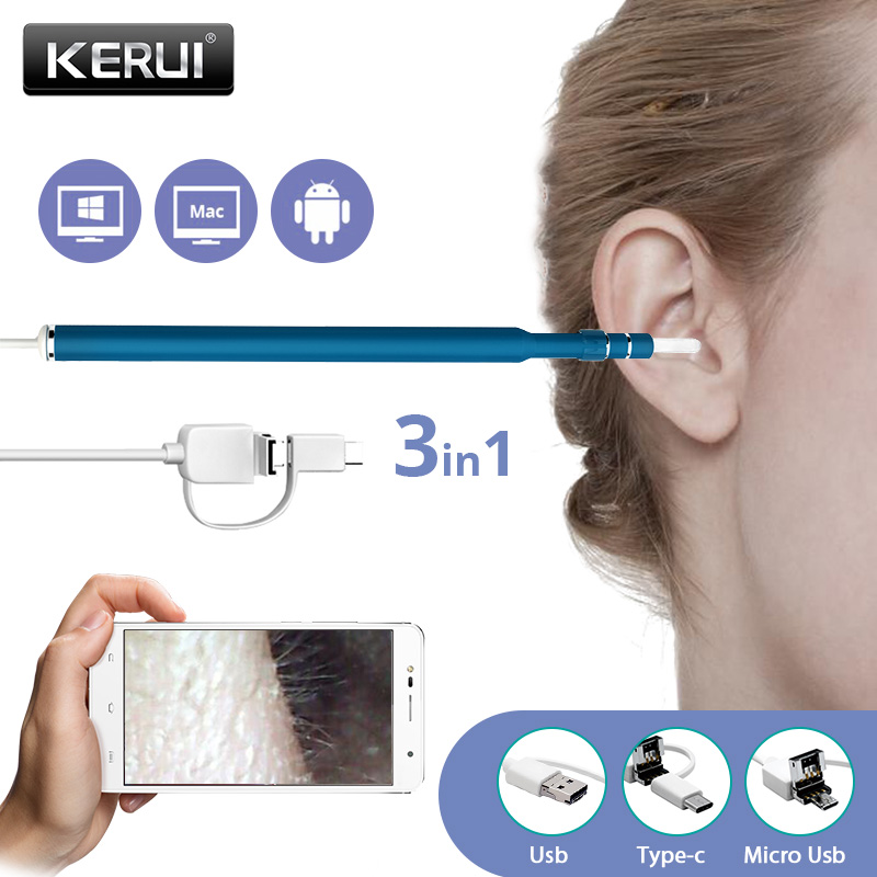 Kerui 3 In 1 USB OTG Visual Ear Cleaning Endoscope Spoon Functional Diagnostic Tool Ear Cleaner Android 720P Camera Ear Pick