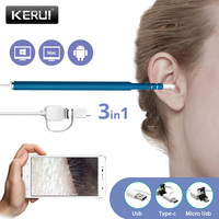 Kerui 3 In 1 USB OTG Visual Ear Cleaning Endoscope Spoon Functional Diagnostic Tool Ear Cleaner