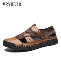 VRYHEID New Summer Sandals Men Leather Classic Roman Shoes 2019 Slipper Outdoor Sneaker Beach Rubber Men Water Trekking Sandals