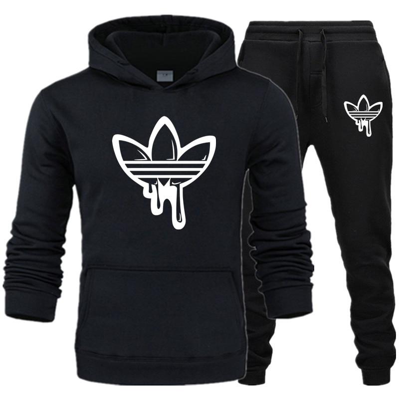 New 2019 Hot Fashion Brand Men's Sportswear Hooded Sweatshirt Men's Sportswear Hoodie Men's Brand Clothing Hoodie + Pants Suit