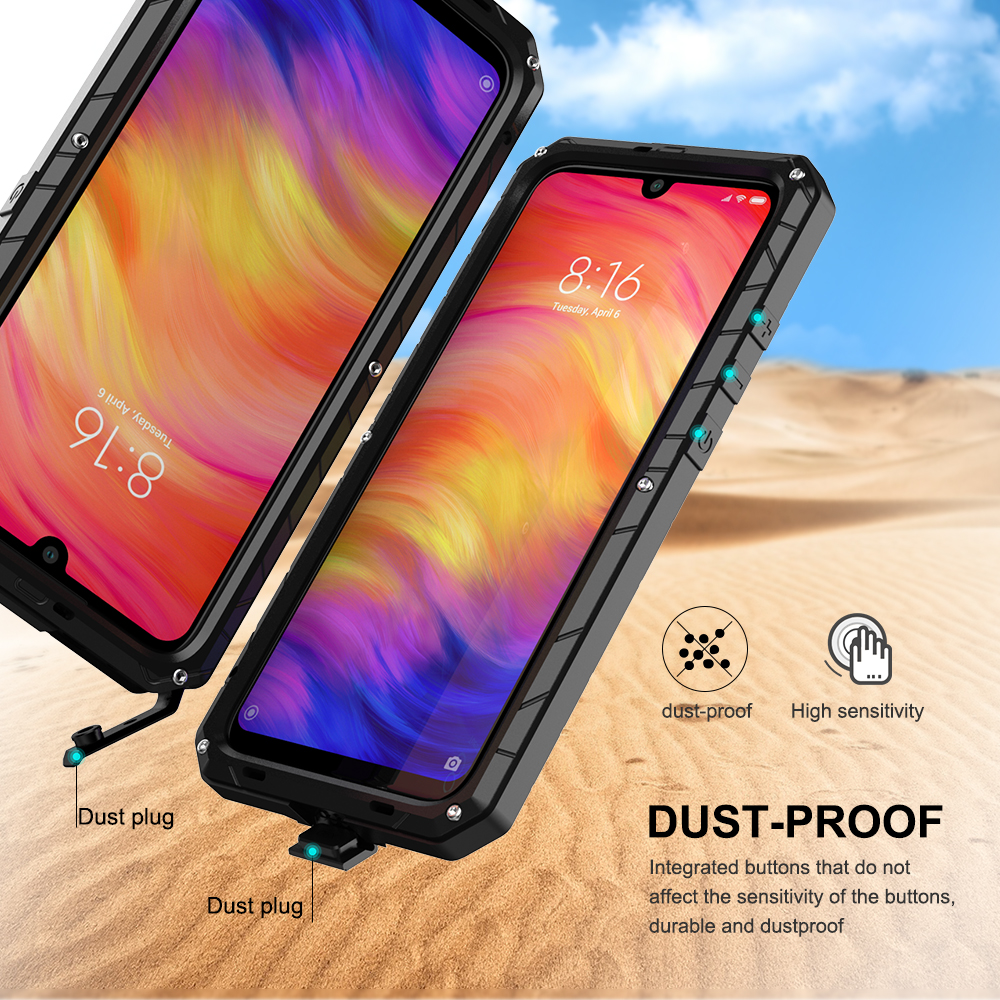 For Xiaomi Mi Redmi Note 7 Phone Case Hard Aluminum Metal Tempered Glass Screen Protector Heavy Duty Cover  for Redmi Note 7 Pro