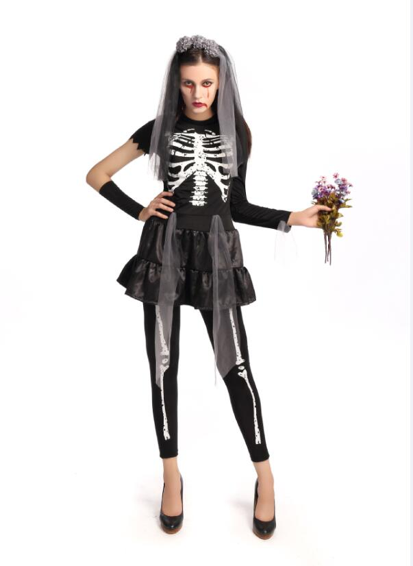 Adult Women Halloween Black Skull Ghost Bride Costumes Scary Skull Zombies Costume Cosplay Party Fancy Dress