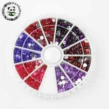 6 Color Faceted Half Round Imitation No Hot-Fix Taiwan Acrylic Rhinestone Cabochons, Mixed Color, 3x1mm; about