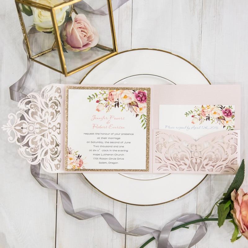 Luxury Pocketfold Wedding Invitations: Luxury Blush Pink Spring Flower Glitter Laser Cut Pocket