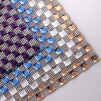 24Rows 24X40cm Hot Melt Adhesives Glass Mesh Square Glass 10X10mm Rhinestones Mesh Clothes Accessories Crystal Free