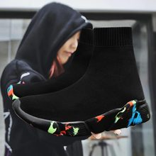 Hundunsnake High Top Krasovki Men Summer Man Sneakers Sock Women Sport Shoes Men Sport Shoes Mens Running Shoes 2019 Black A 199