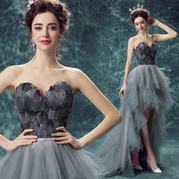 2016 New Personality Sweet Feather Beading Belt Decorated Celebrity Dress Bride Feather Wedding Gown Gray Party