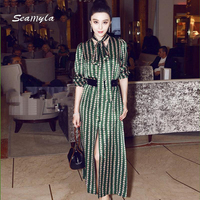 Seamyla New Fashion Celebrity Party Dresses 2017 Women S High Quality Print Runway Dress Elegant Green
