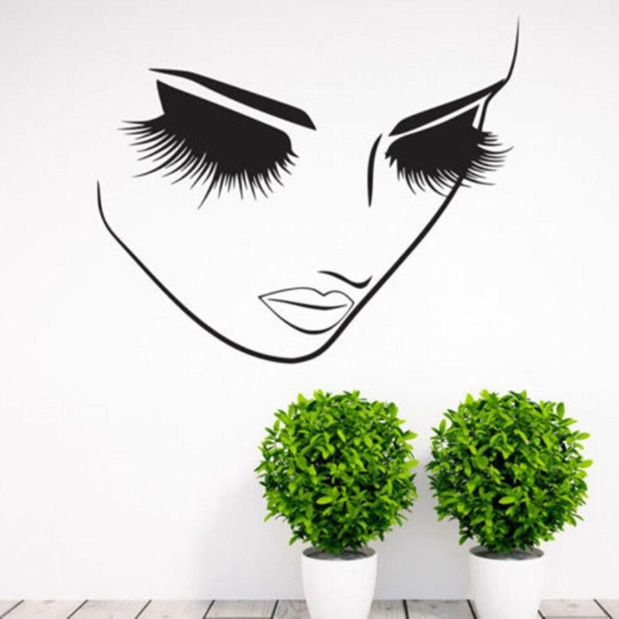 Cils Beauté Salon Vinyl Sticker Autocollants Fille Femme Longs Cils Cils Mur Art Mural la Barre des Cils Cosmétiques Magasin Décor