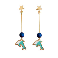 SANSUMMER Drop Earrings For Women Fresh Handmade Blue Glaze Animal Dolphin Niche Design Simulated-pearl 5008